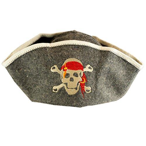 "DIYer® - Saunahut - inkl. Sauna-Ratgeber - Motiv""Pirat"" - 100% Baumwolle - Filz Saunamütze"