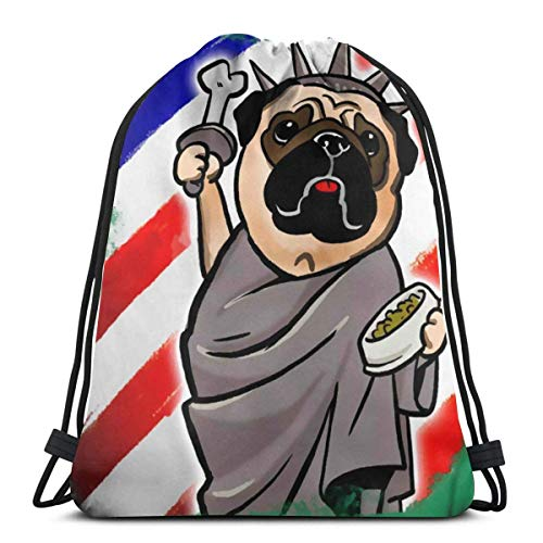 AEMAPE Drawstring Bags 4th Of July Pug Backpack Pull String Bags Bulk Sports Storage Gym For Girls Water Resistant Travel Rucksack