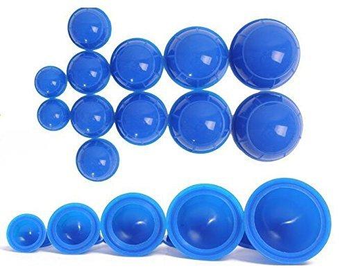 12 tasses en silicone de massage médical sous vide tasses de tasse de soins de santé (Bleu)