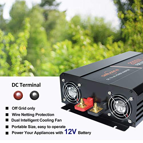 aeliussine Power Inverter 2000W Pure Sine Wave 12v DC to AC 120v Peak 4000 Watt Converter with LCD Display USB Charge Port for Car RV Boat Solar Power System.