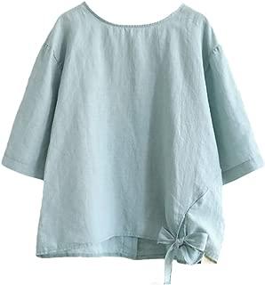 Minibee Women's Cotton Linen Blouse Cute Tunics Tops Shirt