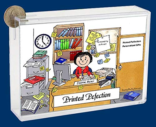 Personalized Friendly Folks Cartoon Caricature Bank: Messy Office – Female