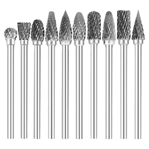 COMOWARE Rotary Burr Set 10pcs 1/8 Tungsten Carbide Rotary File Solid Carbide Rotary Burr Set Drill Grinding Cutter Tools Bits Set, for DIY Wood-working Carving, Metal Polishing, Engraving, Drilling