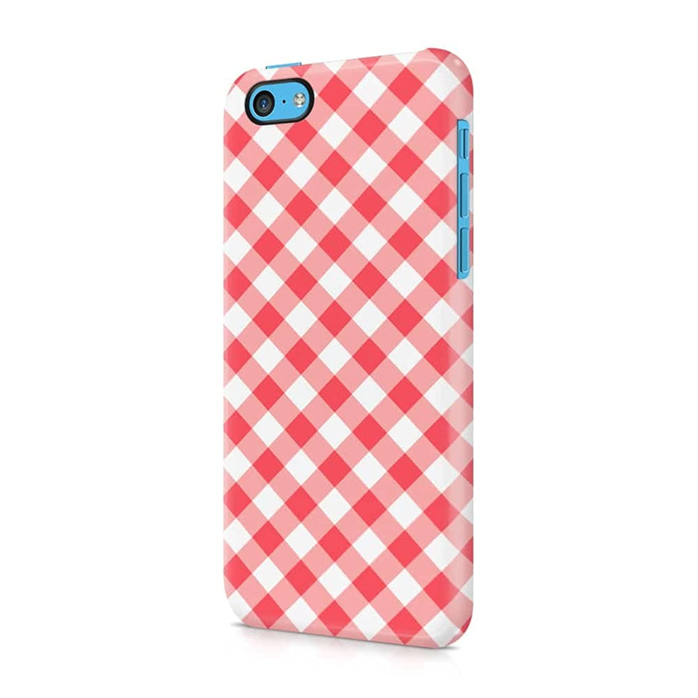 Red Vintage Checkered Tablecloth Pattern Apple iPhone 5c Plastic Phone Protective Case Cover