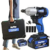 "Cordless Impact Compact Wrench 2X 6000mAh li-ion Battery 420 N.M 1/2"" Drive Dual"