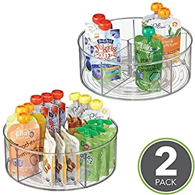 mDesign Divided Lazy Susan Turntable Storage Container for Cabinets, Pantries, Refrigerator, Countertops, BPA Free & Food Safe - Spinning Organizer for Kids/Baby/Toddler, 5 Sections - Pack of 2, Clear