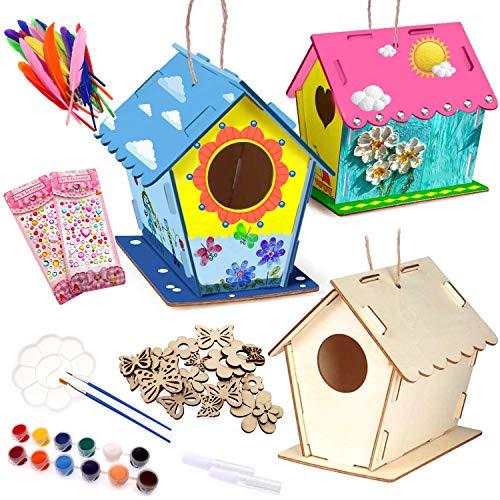 3 Stück Vogelhaus Bausatz, Kinder Holz Vogelhaus, DIY Holz Vogelhaus Kits, Machen Sie kreative Spielzeuggeschenke für Kindergeburtstag und Festival, 12 Farben und 2 Pinsel für Kinder, 2 Klebe