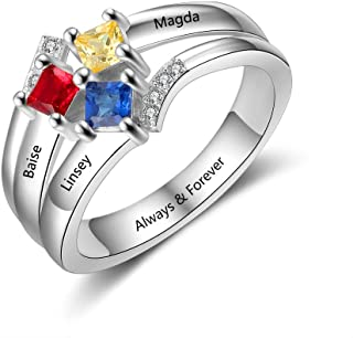 Personalized Mother Rings with 3 Simulated Birthstones...