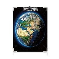 クリップボード A4 地球 かわいい画板 青い海と鮮やかな地球の地球緑の体積雲の科学テーマ A4 タテ型 クリップファイル ワードパッド ファイルバインダー 携帯便利ブルーグリーンdブラウン