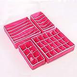 Un Conjunto de 4 Cajas de Almacenamiento de Cajones, Bolsa de Almacenamiento Plegable para Gabinete, Adecuada para Sujetadores, Ropa Interior, Calcetines, (Rosa roja)