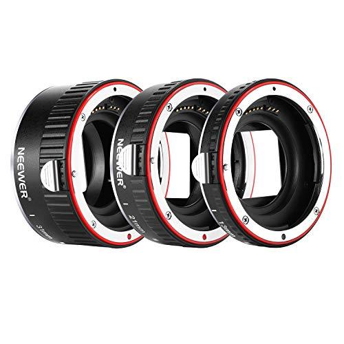 Neewer Tubo Extensión Macro Enfoque Automático AF Metal Set 13mm,21mm,31mm para Cámara DSLR Canon EF EF-S, 7D Mark II,5D Mark II III,IV,1300D,1200D,1100D,750D,700D,650D,600D,550D