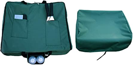 Mini Lustrous 22 Inch Table Top Griddle Carry Bag and Cover for Blackstone, Outdoor Flat Top Portable Gas Griddle Tote Bag with Cover, 2-Piece Set (Green)