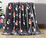 Elegant Comfort Luxury Velvet Super Soft Christmas Prints Fleece Blanket-Holiday Theme Home Décor Fuzzy Warm and Cozy Throws for Winter Bedding, Couch and Gift, 50 x 60 inch, Snowman Flake Gray