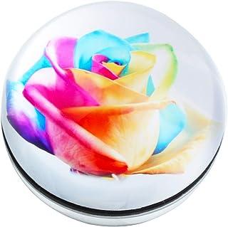 جراب HUR كريستال من زجاج نصف الكرة الأرضية من الورق المقوى لتزيين المكتب (ورود ملونة)