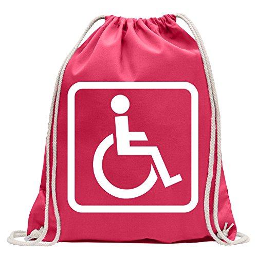 Kiwistar Design Usuario Silla de Ruedas 1Divertida Mochila Deportivo para el Fitness. Gymbag para lo Shopping de algodón con cordón