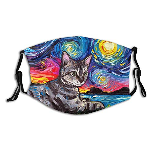 Painting Cute Cats Colorful Night Reusable Face Mask with 2 Filters, Funny Animal Printed Scarf with Nose Wire Adjustable Washable Fabric Bandanas with Filter Pocket for Women Men Dust