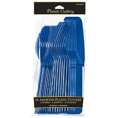 Jeu de 24 couverts en plastique bleu marine