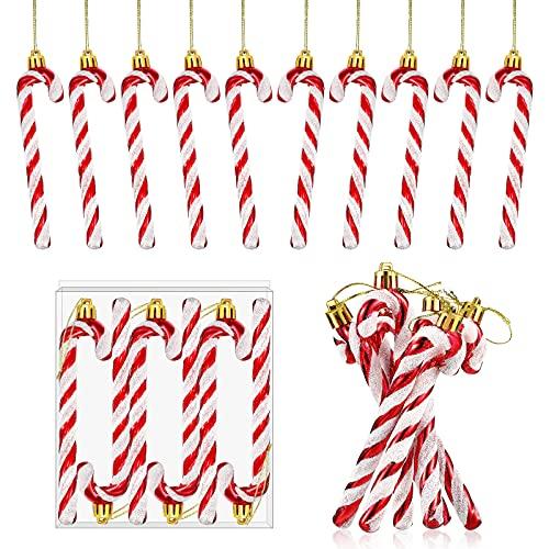 12 Ornamenti Bastoncini Caramelle di Natale in Plastica Stampella Caramelle di Plastica Attorcigliata Accessori per Bastoncini Caramelle Glitter Appendere per Albero Natale (Rosso)
