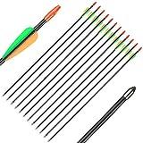 Huntingdoor Archery Youth Arrows 28 Inch Target Practice Fiberglass Arrows Shooting Fun Game Arrows 7mm for Beginner 12 Pack (Black 28inch)