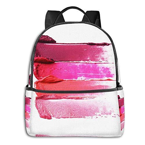 Rucksack Freizeit Damen Herren, Pink Smudge Verschmierte Lippenstifte Weiß Campus Kinderrucksack, Daypack Schulrucksack Sportrucksack Tablet Tasche 15,6 Zoll
