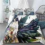 Tres piezas de funda de edredón for Overlord Overlord albedo de flores alas, animado 3D edredón almohada, 100% poliéster, suave y cómodo, ropa de cama de Otaku del animado y aficionados, el mejor rega