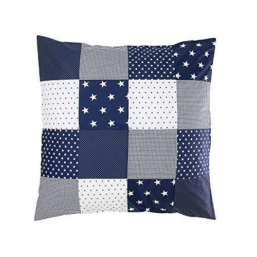ULLENBOOM ® Housse de Couette Bébé Patchwork 80x80 cm Étoiles Bleues (Housse d'édredon en coton pour bébé, Motifs pois & vichy)
