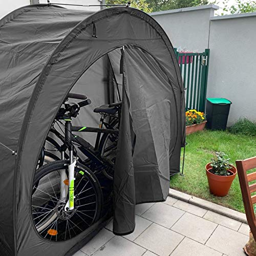 Large Bike Storage Shed, Bicycle Cover Bike Storage Outdoor with Window Design or Garden Outdoor Home Shelter 200 * 80 * 165cm (Black)
