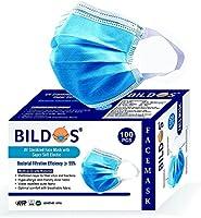 Bildos Melt blown Layer UV Sterilized Mask with Super Soft Elastic and Nose Clip, CE, GMP, FDA & ISO Certified ( Blue,...