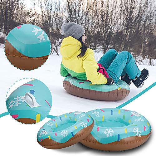 Dadaorou aufblasbar Schlitten,Aufblasbare Schlitten für Erwachsene Kinder, Snow Tube Reifen Verdicken Kälteschutz Schwerlast Schneereifen Rodelreifen mit Sicherheit Griffen