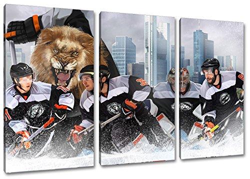 Frankfurt Eishockey, Fan Artikel Leinwandbild 3Teiler Gesamtmaß 120x80cm, Auf Holzrahmen gespannt, Kein Poster oder billig Plakat, Must Have für echte Fans