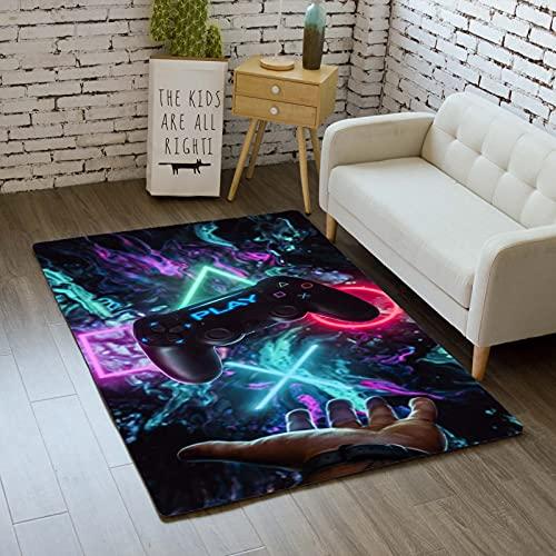 Stillshine. Alfombra de Dormitorio Gamepad para Chico Niño,Alfombra de Sala Consola de Juego Gamer Moderno Antideslizante Franela Lavable Decoración Alfombra (Color 5,100×120 cm)