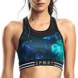 SILIK Sujetador Deportivo Elástico Hueco para Mujer para Fitness Yoga con Almohadillas Desmontables, Verde Esmeralda, M