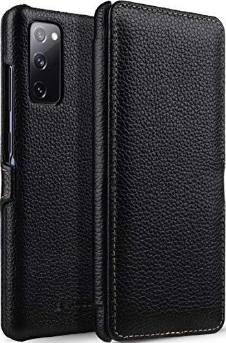 StilGut Book Hülle kompatibel mit Samsung Galaxy S20 FE Hülle aus Leder mit Clip-Verschluss, Lederhülle, Klapphülle, Handyhülle - Schwarz