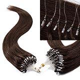 TESS Microring Extensions Echthaar Haarteile Loop Haarverlängerung 0,5g Remy Human Hair Extension Haarverdichtung 100 Strähnen 50g-40cm(#4 Schokobraun)