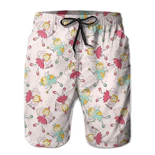Men Swim Trunks Beach Shorts,Princess Fairy Pattern Magical Kids Girls Fantasy Children Cartoon XL