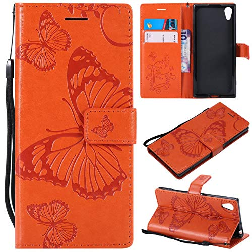 Sangrl PU-Leder Hülle Für Sony Xperia XA1, 3D Butterfly Flip Schale Brieftasche Mit Bracket-Funktion Kartenfächer Wallet Hülle Tasche Für Sony Xperia Z6 - Orange