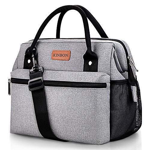 KINBON Lunch Bag Insulated Lunch Box for Women Men Reusable Lunch Bag with Adjustable Shoulder Strap Leak Proof Cooler Lunch Bag Water Resistant-Grey