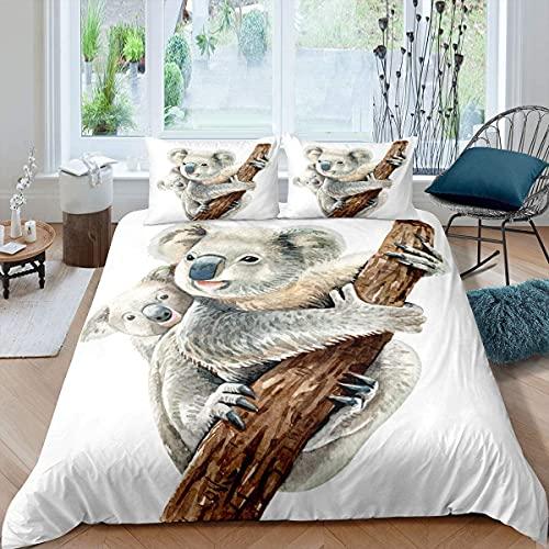 Homewish Koala - Juego de cama de doble tamaño con diseño de oso abrazo, diseño de animales salvajes de Australia, para niños, niñas, adolescentes, decoración ligera del dormitorio