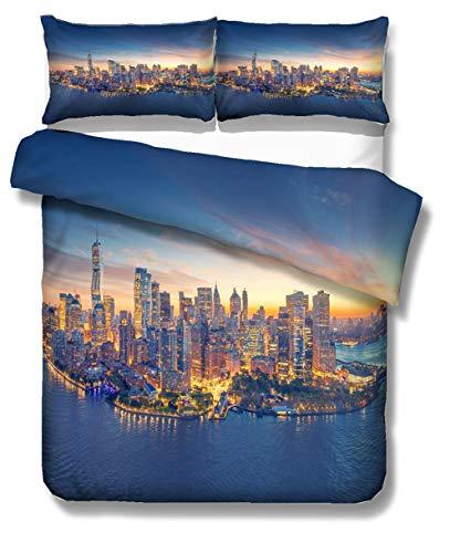 Ropa de Cama Moderno Ciudad Patrón 3D Hermosa New York London Philadelphia Chicago Los Angeles Funda nórdica Microfibra Funda de almohada King Size Cama de 135 cm (New York, 220_x_240_cm)