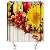 ZZZdz Sonnenblume. Apfel. Haus Dekoration. Duschvorhang: 180X180 cm. 3D Hd Druck. Wasserdicht. Einfach Zu Säubern. Badezimmerzubehör.