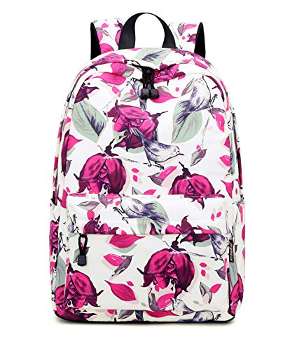 Teecho Girl Fashion Water-resistant School Bag Women Casual Backpack Pink Flower