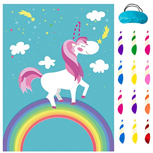 MISS FANTASY Pin The Tail on The Unicorn Unicorn Games for Girls Party Unicorn Birthday Games with 24 Horns Unicorn Gifts for Girls Unicorn Party Supplies Kids Party Games Decorations