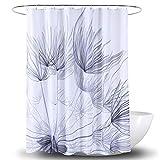 Einfacher Polyester-Duschvorhang, moderner Distel, Pusteblumendruck, Badewannenvorhang, grau-weiße Blume, Duschvorhang für neutrale Badezimmerdekoration, Stoff, 72 x 72 cm