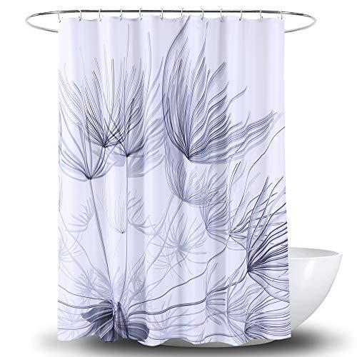 Duschvorhang, grau/weiß, modern, einfach, Distel, Pusteblumendruck, Badewannenvorhang, neutraler Stoff, Badezimmer-Dekoration, 72 x 72 cm