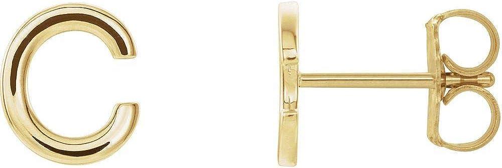 Single Each Earring Sold Seperately Alphabet Initial Letter C Stud Earring (8mm x 6.7mm)