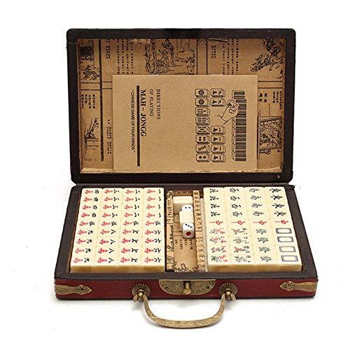 Kimmyer Mini Juego portátil de Mahjong, Caja de bambú Vintage y Mantel Mahjong, 146 Bloques de Material acrílico, Viajes y Ocio