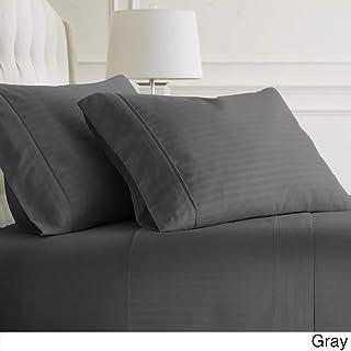 100% Egyptian Cotton Pillowcases - 600 TC Egyptian Quality Set of 2 Pillow Cases - Silky Soft 2pc Pillow Cover (King,Dark Grey) Stripe