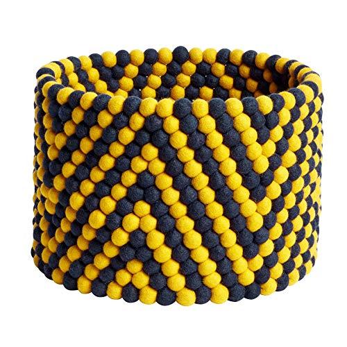 HAY Bead Chefron - Cesta de Lana (27 x 40 cm), Color Amarillo