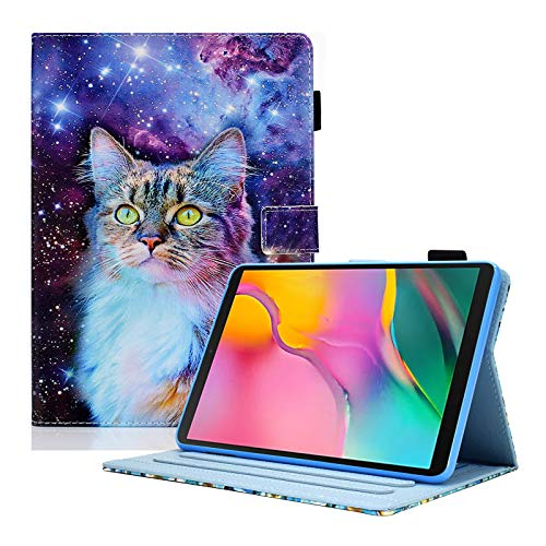 KEROM Case for Samsung Galaxy Tab A 10.1 2019 (SM-T510/T515/T517), PU Leather Folio Flip Cover with Stand Function, Smart Cover Protective Case Fits Galaxy Tab A 10.1 Case, Galaxy Cat
