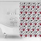 MUXARE Badezimmer Dekor Duschvorhang Wasserdichter Polyester Stoff Duschvorhang Herz Schlüsselmuster-B150cmxH180cm